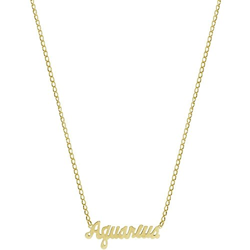 GIRLPROPS Nickel Free Mystical Sun Sign Horoscope Zodiac Nameplate Necklace, USA! by GIRLPROPS