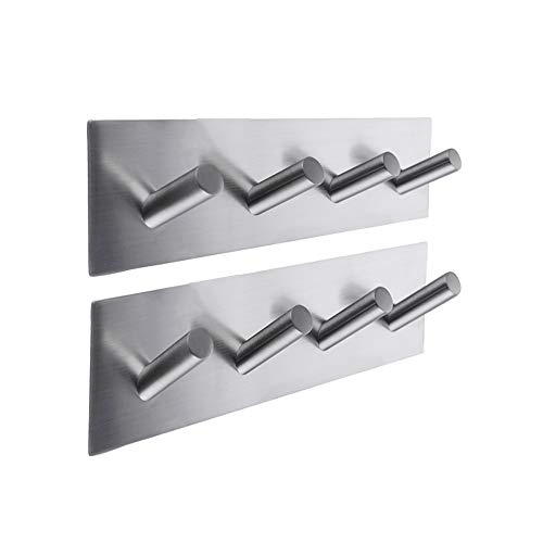 Kes Self Adhesive Hooks Rail Rack Sticky Stick On Coat and Robe Key Hook SUS 304 Stainless Steel Brushed Finish 4-Hook 2-Piece, A7063H4-P2