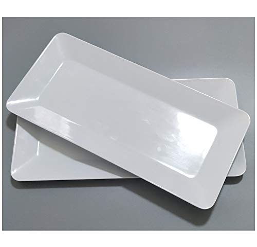 - 17-Inch Melamine Serving Platters/Rectangular Trays for Party|Set of 2,White Color,100% Melamine,Dishwasher Safe,BPA Free