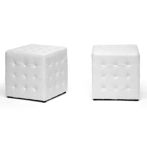 Baxton Studio Siskal Modern Cube Ottoman, White, Set of 2,BH-5589-WHITE-OTTO-2PC