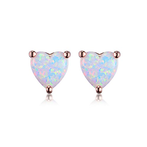 GEMSME 18K Rose Gold Plated Opal Stud Earrings 6MM