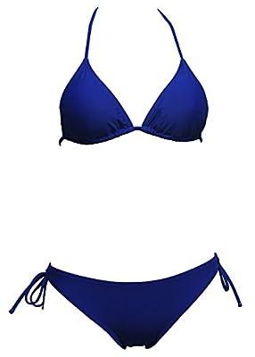 Qiaoer Womens Black Triangle Bikini Top Tie Side Bottom Swimsuits (FBA)