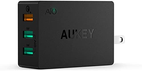Aukey Quick 2.0 42W 3 Ports USB Desktop Station Wall Charger  Black  Mobile Phone Wall Chargers