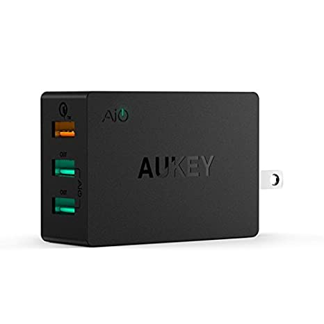 Aukey Quick 2.0 42W 3 Ports USB Desktop Station Wall Charger (Black) Mobile Phone Wall Chargers at amazon