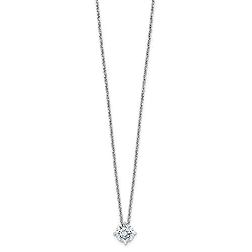 14k White Gold 3/4ct. 6mm Round Colorless Moissanite Solitaire Pend On Link Cable Chain Necklace 18 Inch Pendant Charm Slide Light Fine Jewelry Gifts For Women For Her