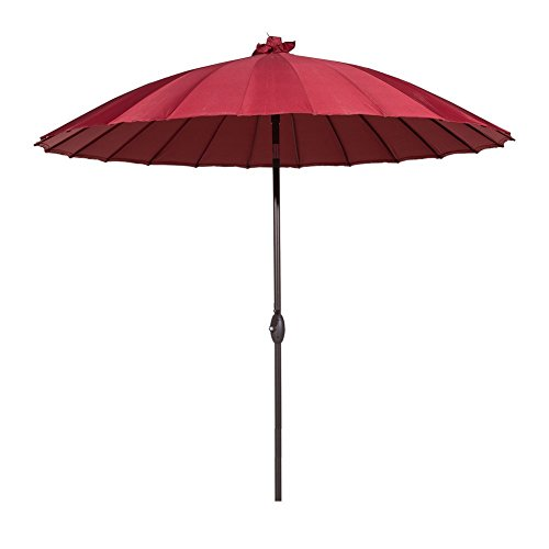 Abba Patio Outdoor Patio Umbrella 8.5 Feet Patio Table Umbrella with Push Button Tilt and Crank, 24 Steel Wire Ribs, Red
