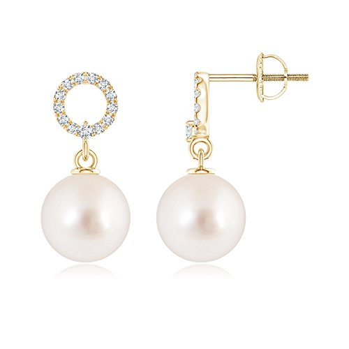 South Sea Cultured Pearl Circle Drop Earrings with Diamonds in 14K Yellow Gold (8mm South Sea Cultured ()