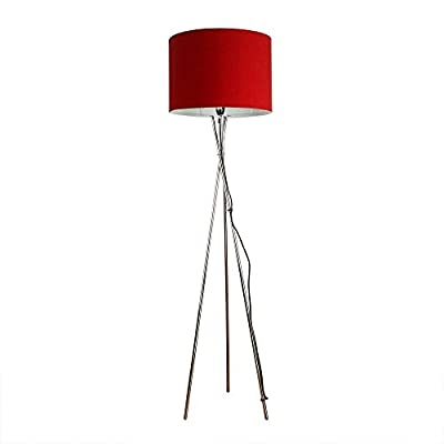 modern chrome tripod style floor lamp with rolla polycotton cylinder drum light shade Modern Chrome Tripod Style Floor Lamp With Rolla Polycotton Cylinder Drum Light Shade 31jtTygPB5L