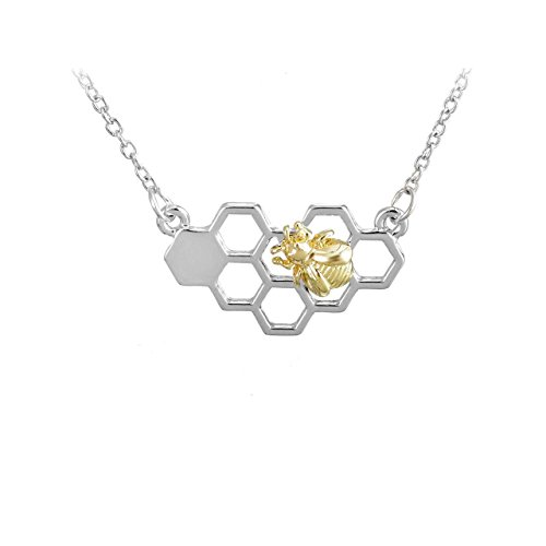 399a4608e7e6d Silver Honeycomb Necklace with Golden Bee - Buy Online in Oman ...
