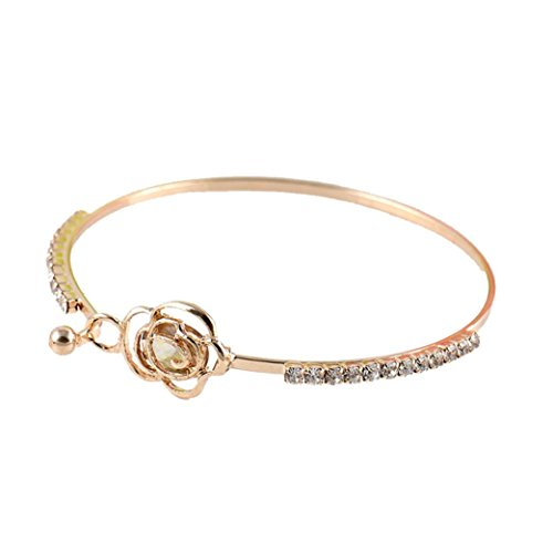 JSPOYOU Clearance Elegant Women's Crystal Rose Flower Bangle Cuff Bracelet Jewelry Gold