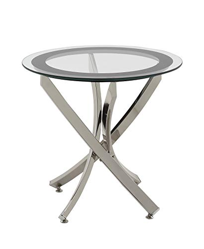 Norwood End Table with Tempered Glass Top Chrome and Clear Contemporary Glass Side Table