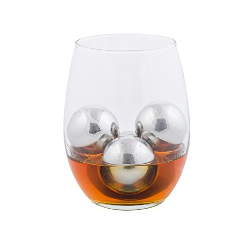 Chill-O Stainless Steel Whiskey Big Ice Balls Set of 4 - BIG BALLS Series - & Slip Free Tongs and Pouch Whiskey Chillers Wine Chillers Beer Chillers Vodka Chillers Champagne Chillers Spirits Chillers