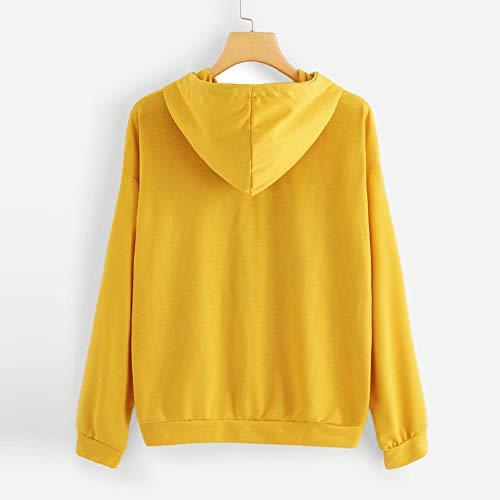 Camiseta Ocasional Tarde Mujer Con Tops Manga Amarillo Larga Capucha Sudadera De Impresa Carta Siento Lo Jumper Para Soy 7SU1xxqwB