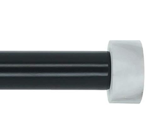 MERIVILLE 1-Inch Diameter Single Window Treatment Curtain Rod, Vico White Marble End Cap Finial, 84-inch to 120-inch Adjustable, - End Cap Finial