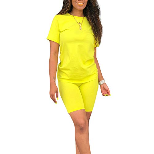 Two Piece Outfits for Women Shorts Set-Casual Short Sleeve Tops and Short Bodycon Pants Jumpsuit Tracksuits Yellow (Best Outfits For Short Women)