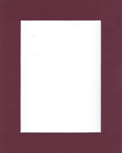Pack of 10 8x10 Maroon Picture Mats with White Core Bevel Cut for 5x7 Pictures