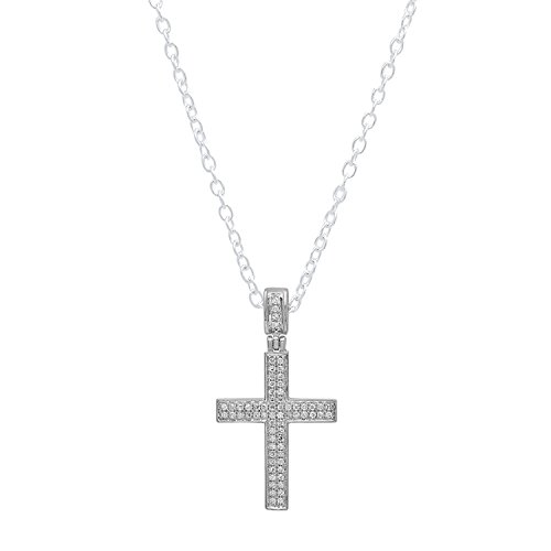 Dazzlingrock Collection 0.18 Carat (ctw) 18K Round Diamond Men's Hip Hop Cross Pendant (Silver Chain Included), White Gold ()