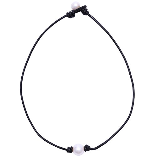 Aobei Pearl Single Cultured Freshwater Pearl Necklace Choker for Women Genuine Leather Jewelry - Pearls Jewelry Freshwater Pearl