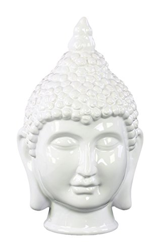 Urban Trends Ceramic Buddha Head with Pointed Ushnisha Gloss Finish White, White