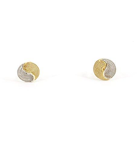 Boucles d'Oreilles Corbula Tao Bicolore en Or Jaune 18 kt