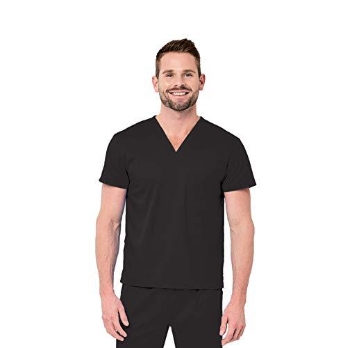 (Elements by Alexander's Uniforms EL9605 Unisex Single Pocket V-Neck Four Way Stretch Scrub Top (Black, Medium))