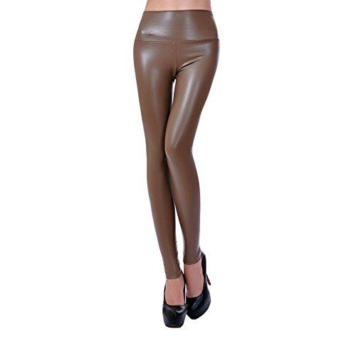 Amurleopard Pantyhose Leggings Pantaloni Slim Pantaloni Khaki Donna Leather Pu Sgqx5B