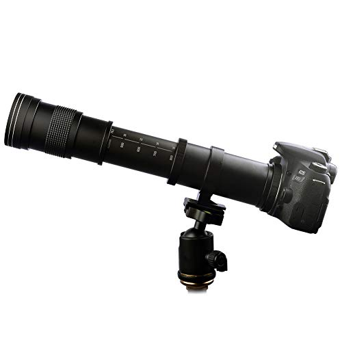 Lightdow 420-800mm f/8.3 Manual Zoom Super Telephoto Lens + T-Mount for Canon EOS Rebel T3 T3i T4i T5 T5i T6 T6i T6s T7 T7i SL1 SL2 6D 7D 7D 60D 70D 77D 80D 5D II/III/IV DSLR Camera Lenses (Canon Eos Rebel Xti Lens)