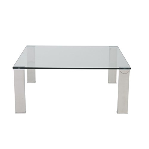 Square Glass Cocktail Table (Eurø Style Beth Clear Glass Top Polished Stainless Steel Square Coffee Table)