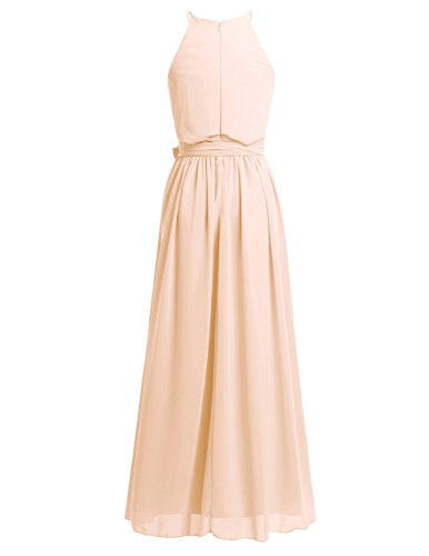 Sleeveless Dress Halter Apricot Maxi Chiffon Neck Wedding YiZYiF Party Long Women's qtxH7wHz