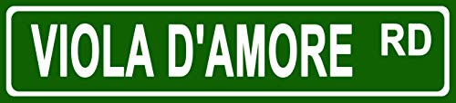 - Makoroni - Viola D'Amore Music Instrument Novelty Street Sign Aluminum Metal 4x18 inc