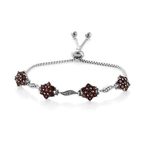 Shop LC Delivering Joy Round Garnet Bolo Tennis Bracelet for Women Gift Jewelry Cttw 2.5 Hypoallergenic (Adjustable)