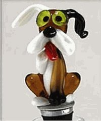 Hand-blown Glass Dog Bottle Stopper by Yurana Designs - BS081 (Stoppers Glass Bottle Blown)