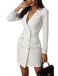 Women Double Breasted Long Sleeve OL Blazer Mini Dress Blazer Dress