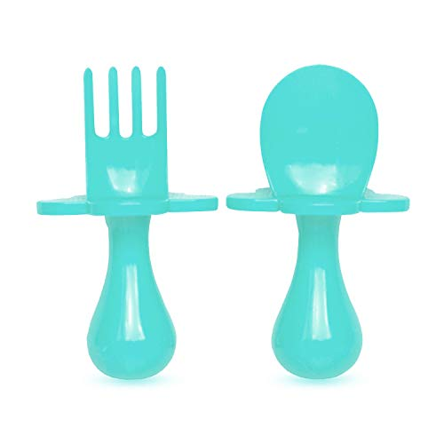 grabease First Training Self Feeding Utensil Set of Spoon and Fork for Toddler and Baby. BPA Free. to-go Pouch (Teal)