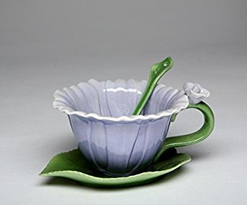 Elizabeth Saucer - Cg SS-CG-10396, Blue Dahlia 6-pc Set with 2 Cups, Saucers and Spoon Collectible, Purple