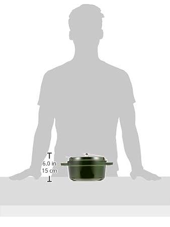 Staub 1102285 - Cocotte redonda, color verde basilisco, tamaño 22 cm: Amazon.es: Hogar