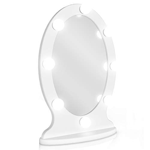 Lighted Vanity Mirror Hollywood Makeup Mirror with Lights, Light up Oval Table-Top Mirror Illuminated Cosmetic Mirrors with Stand for Dressing Desk, Dimmable LED Bulbs Touch Control, Plug-in, White