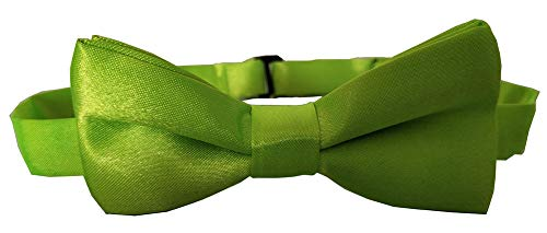 Adjustable Boys Bow Tie Solid Pre Tied for Wedding Party Dress up Emerald (Green Polyester Boys Ties)