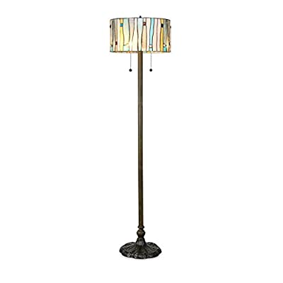Serena D'italia Tiffany Style Lamps, Blue Contemporary Floor Lamp, Mosaic Stained Glass Lamp and Bronze Finish Base, Double Pull Chain (Blue, White, Yellow)