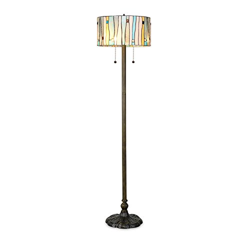 Serena D'italia Tiffany Style Lamps, Blue Contemporary Floor Lamp, Mosaic Stained Glass Lamp and Bronze Finish Base, Double Pull Chain (Blue, White, (Tiffany Copper Bulb)