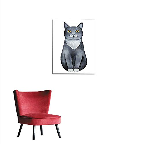 (Wall Picture Decoration Black cat with White Chest and Paws Big Yellow Golden Eyes and Funny face Moustache Markings Mural 32