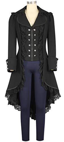 LETSQK Victorian Steampunk Gothic Corset Halloween Costume Coat Tailcoat Tuxedo Black L