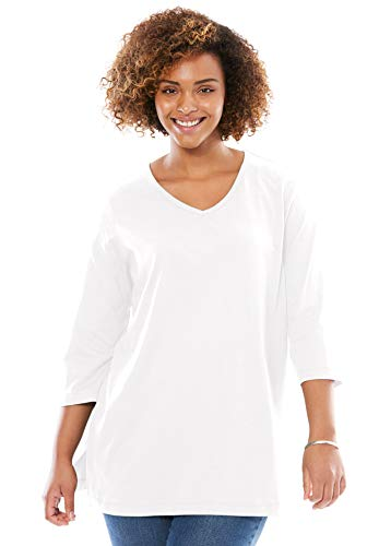(Woman Within Women's Plus Size Perfect V-Neck Three-Quarter Sleeve Tunic - White, M )