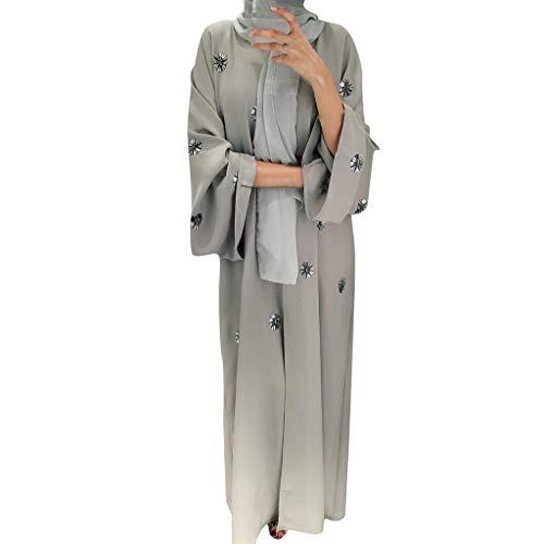 HYIRI Women's Openwork embroi SacredCardigan Muslim Dubai Robe Gown Gray]()