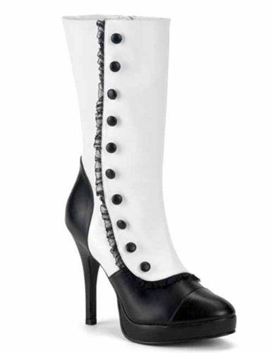 [Splendor 130 (10) Blk/Wht Spats Sexy Victorian Boots] (Gangster Shoes)