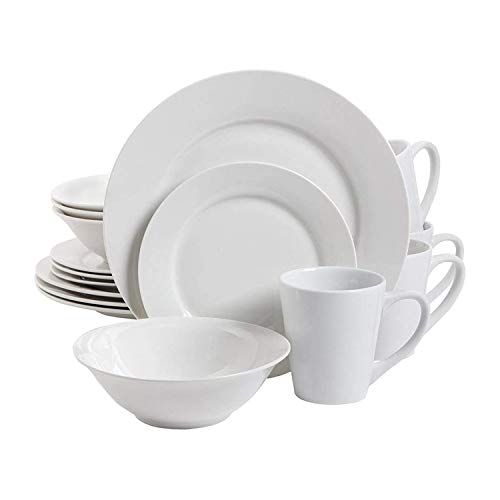 Gibson Nobel Court 16 Piece Durable Round Porcelain Microwave and Dishwasher Safe Plates, Bowls, and Mugs Dinnerware Set…