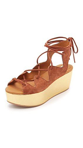See by Chloe Metallic Wedge Flatform Damen Sandalen Beige
