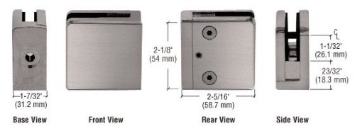 C.R. LAURENCE Z812BN CRL Brushed Nickel Z-Series Square Type Flat Base Zinc Clamp for 1/2 Glass by C.R. Laurence