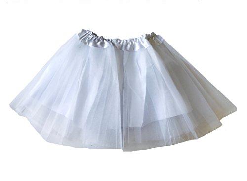 Rush Dance Girls' Classic Ballerina 3 Layers Tulle Tutu Skirt with Satin Lining (Kids (3-8 Years Old), White)