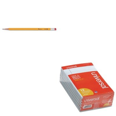Economy Pencil - KITUNV35850UNV55400 - Value Kit - Universal Colored Perforated Note Pads (UNV35850) and Universal Economy Woodcase Pencil (UNV55400)